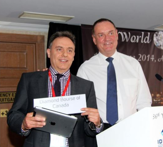 David Gavin, accepting membership into the WFDB on behalf of the Diamond Bourse of Canada