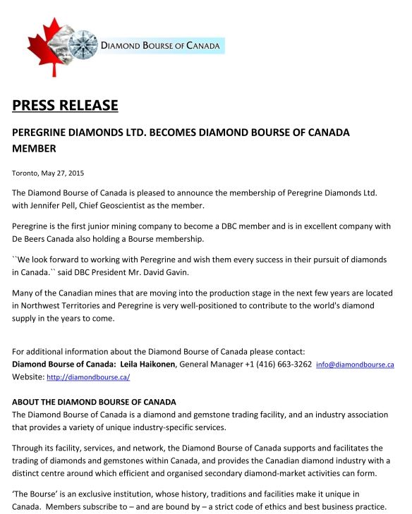 PRESS RELEASE PEREGRINE DIAMONDS LTD 1